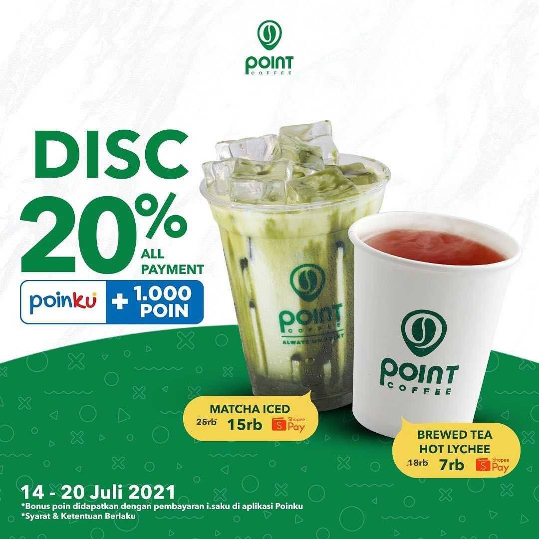 Promo diskon Point Coffee Free Upsize Dengan Kartu Debit BRI