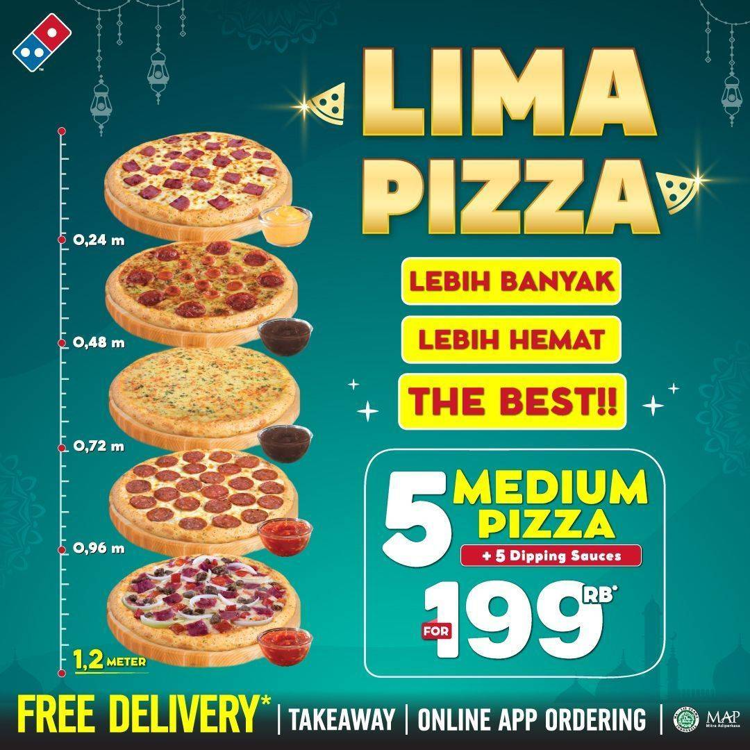 Diskon Domino's Pizza Promo 5 Pizza Medium + Sauces Hanya Rp. 199.000
