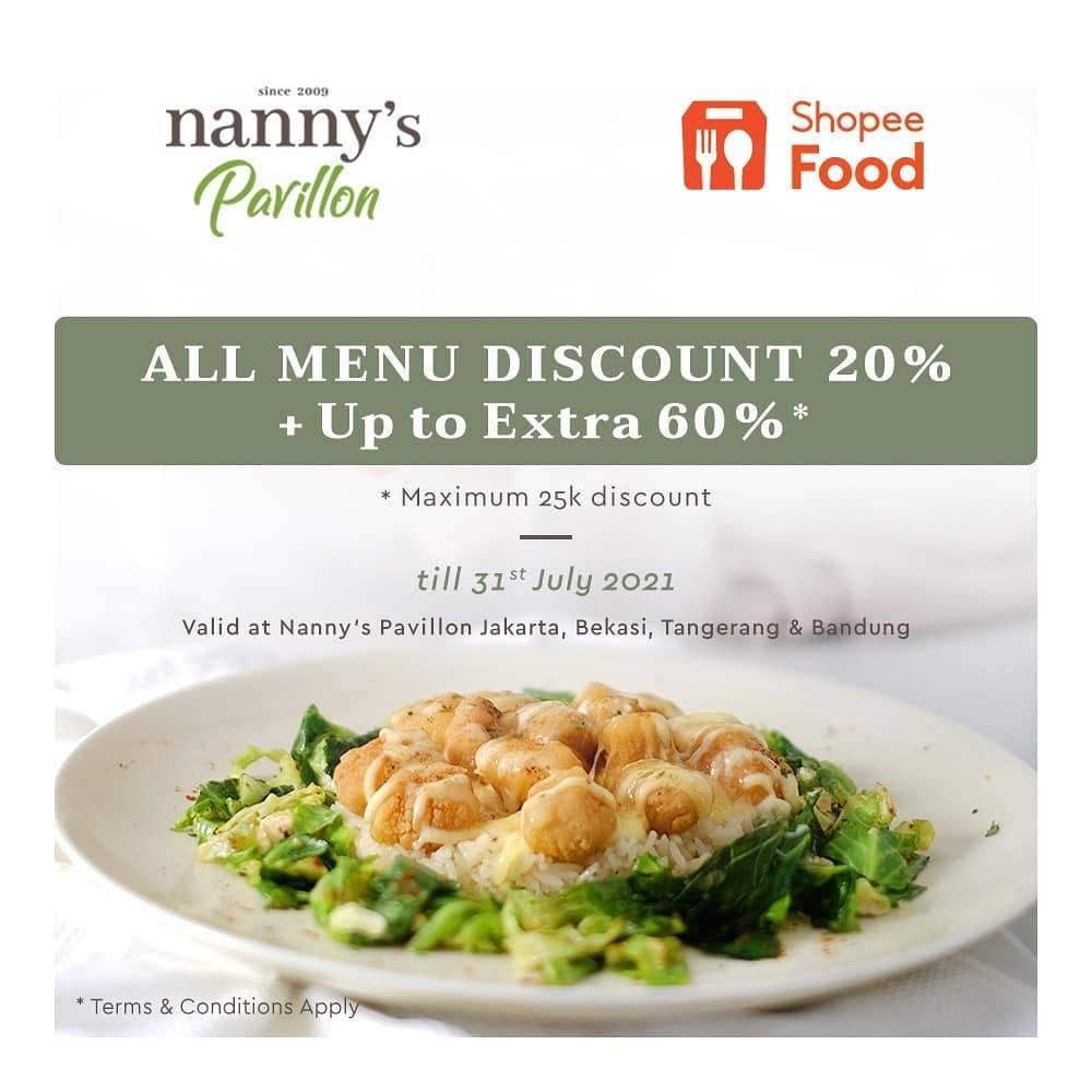 Diskon Nannys Pavillon Discount Up To 20% + 60% Off On ShopeeFood