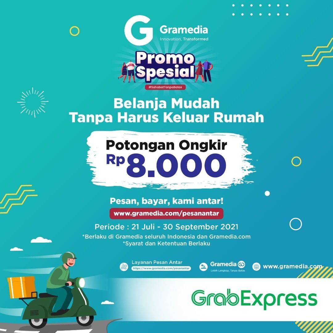Diskon Gramedia Free Ongkir Rp. 8.000 Dengan GrabExpress