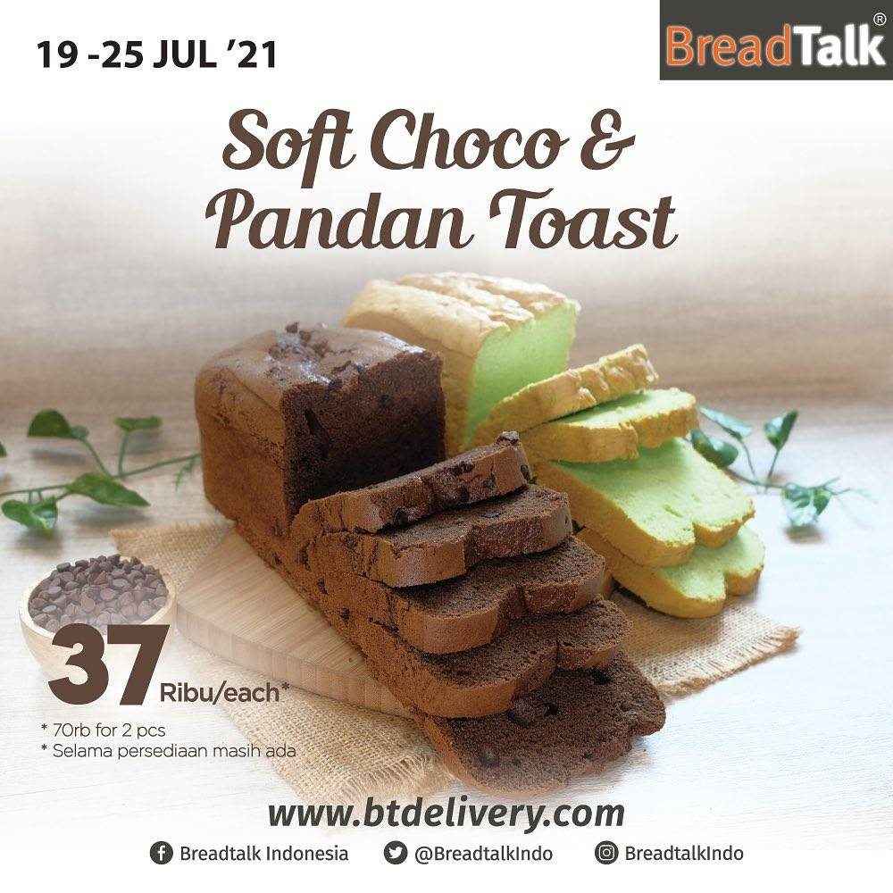Diskon Bread Talk Promo Soft Choco and Pandan Toast Only For Rp. 70.000
