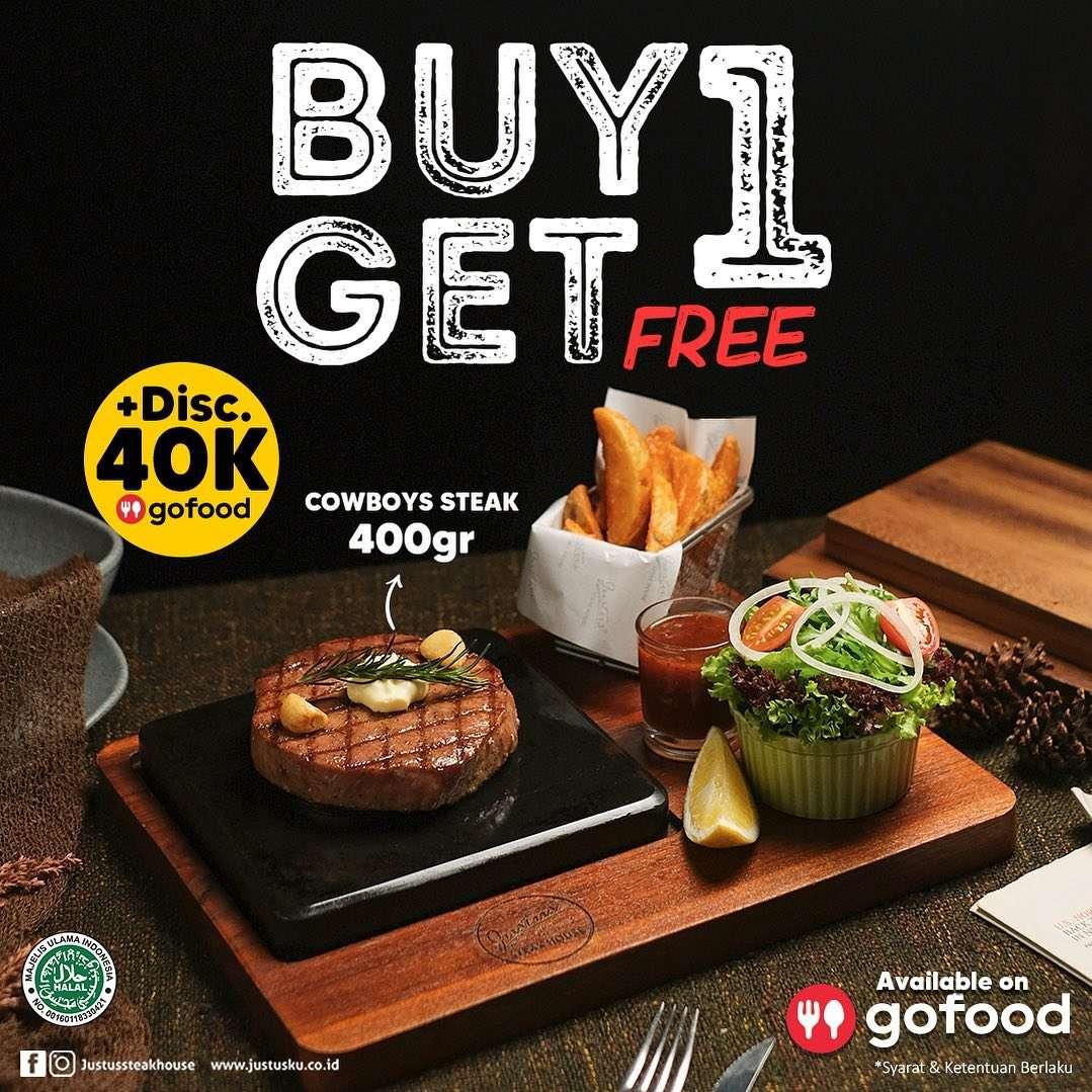 Diskon Just Us Burger & Steak Buy 1 Get 1 Free Cowboy Steak 400gr