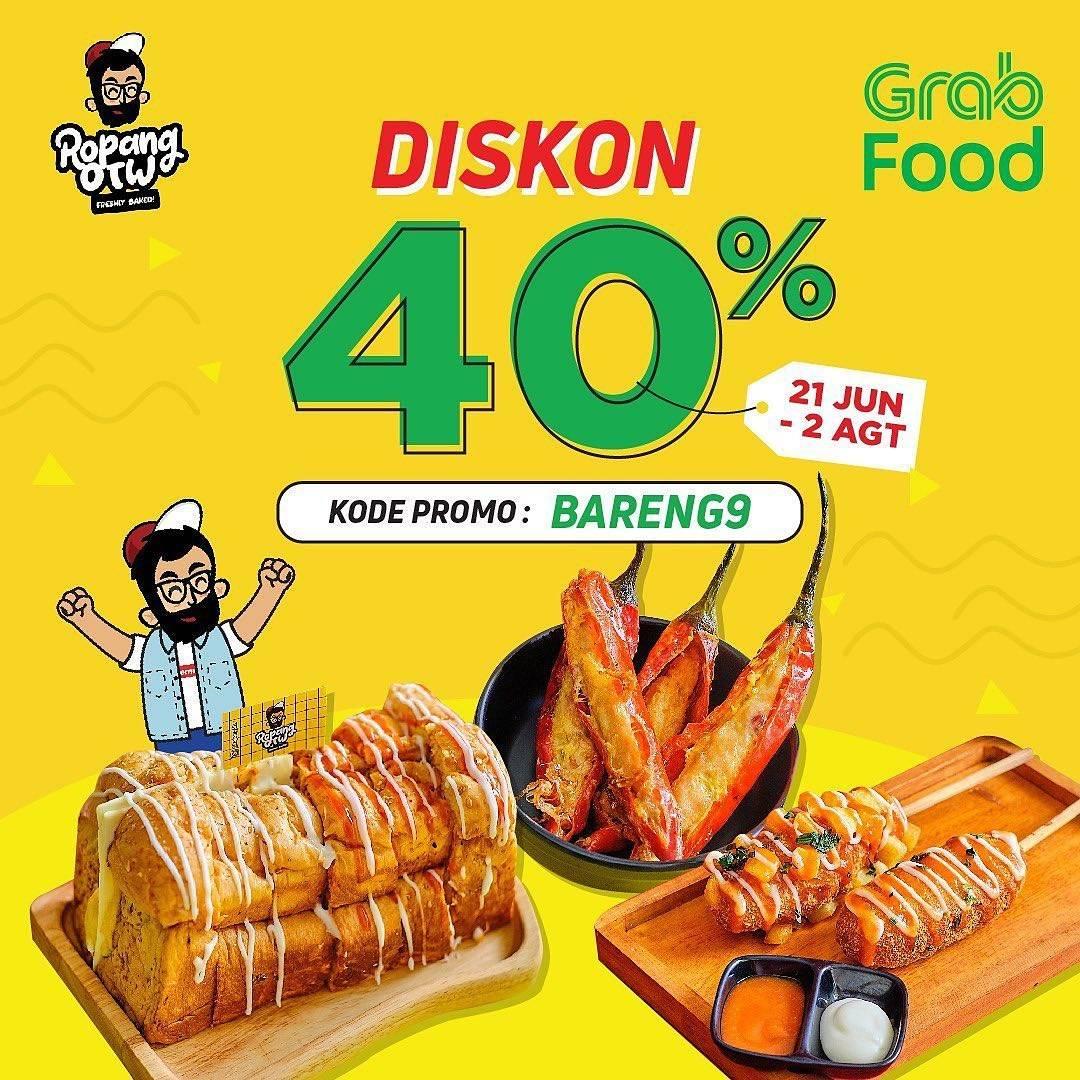 Diskon Ropang OTW Diskon 40% Dengan GrabFood