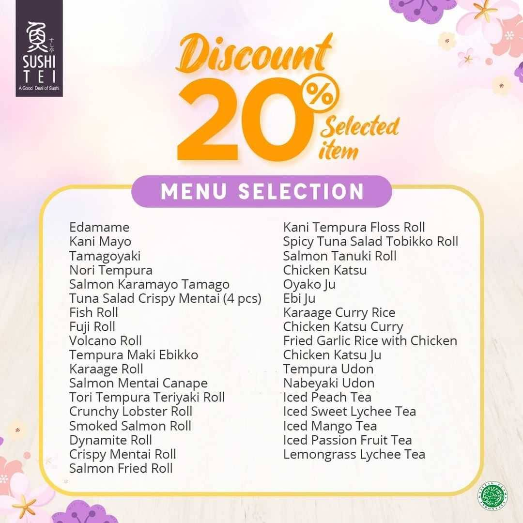 Promo diskon Sushi Tei Discount 20% Off