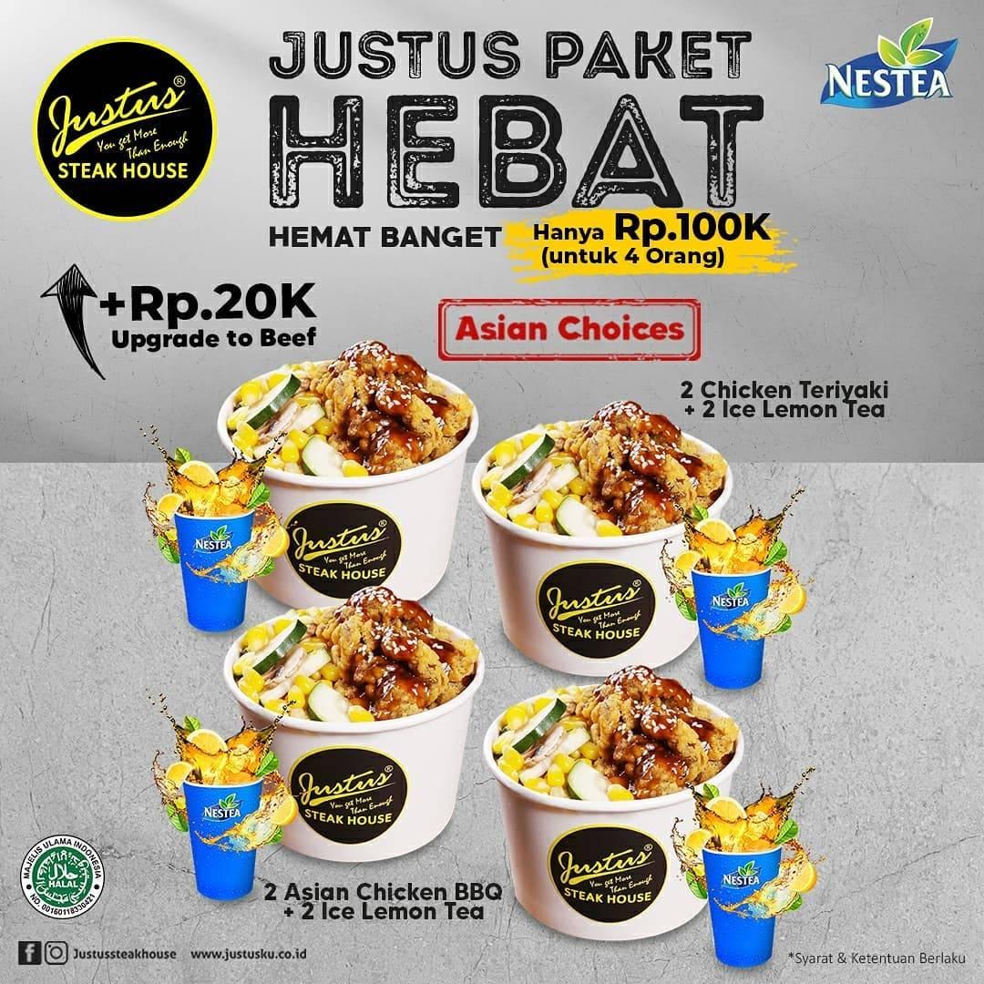 Diskon Just Us Burger Steak Paket Hebat Hanya Rp. 100.000 Untuk 4 Orang