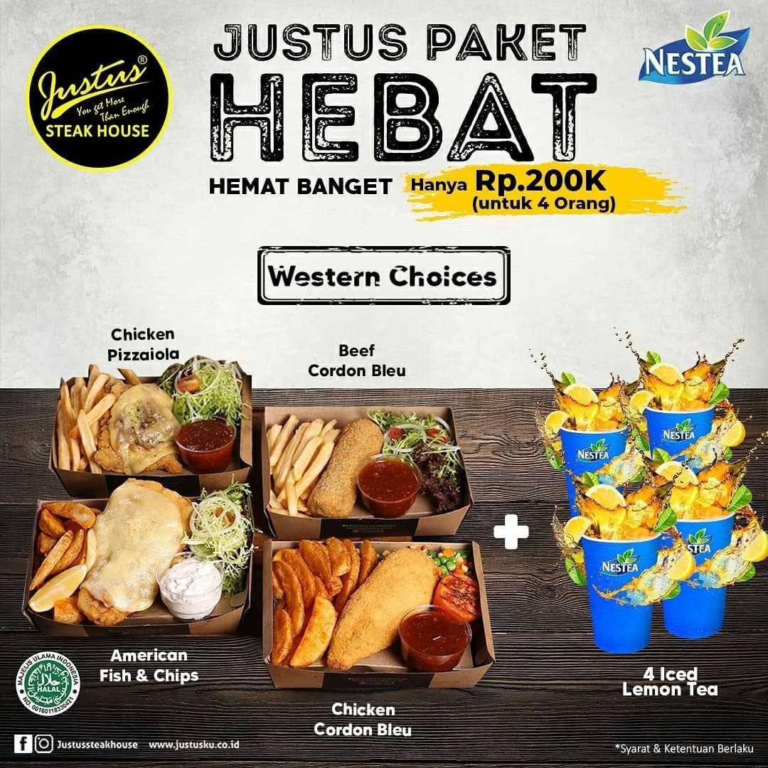 Promo diskon Just Us Burger Steak Paket Hebat Hanya Rp. 100.000 Untuk 4 Orang