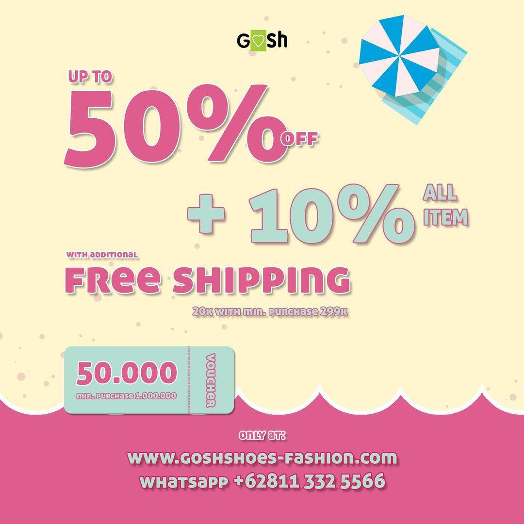 Diskon Gosh Discount Up To 50% + 10% Off + Free Shipping