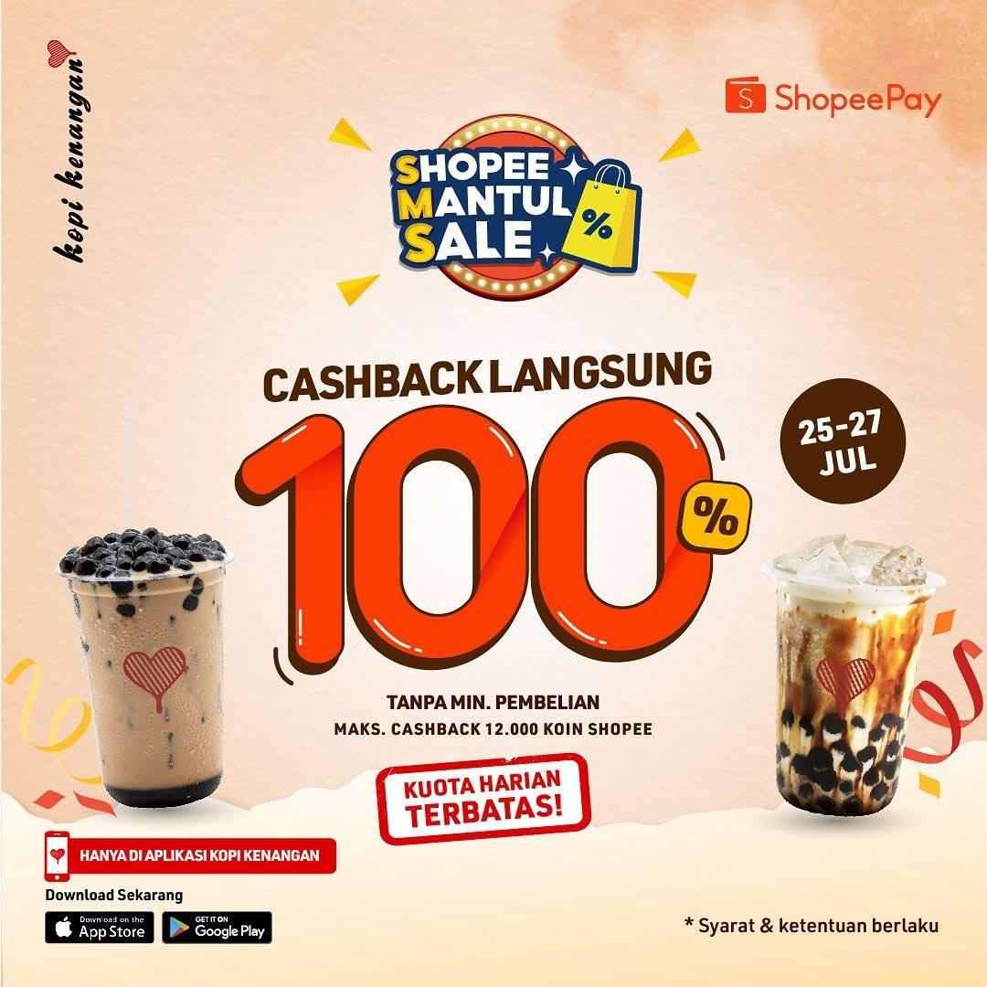 Diskon Kopi Kenangan Cashback Langsung 100% Dengan Shopeepay
