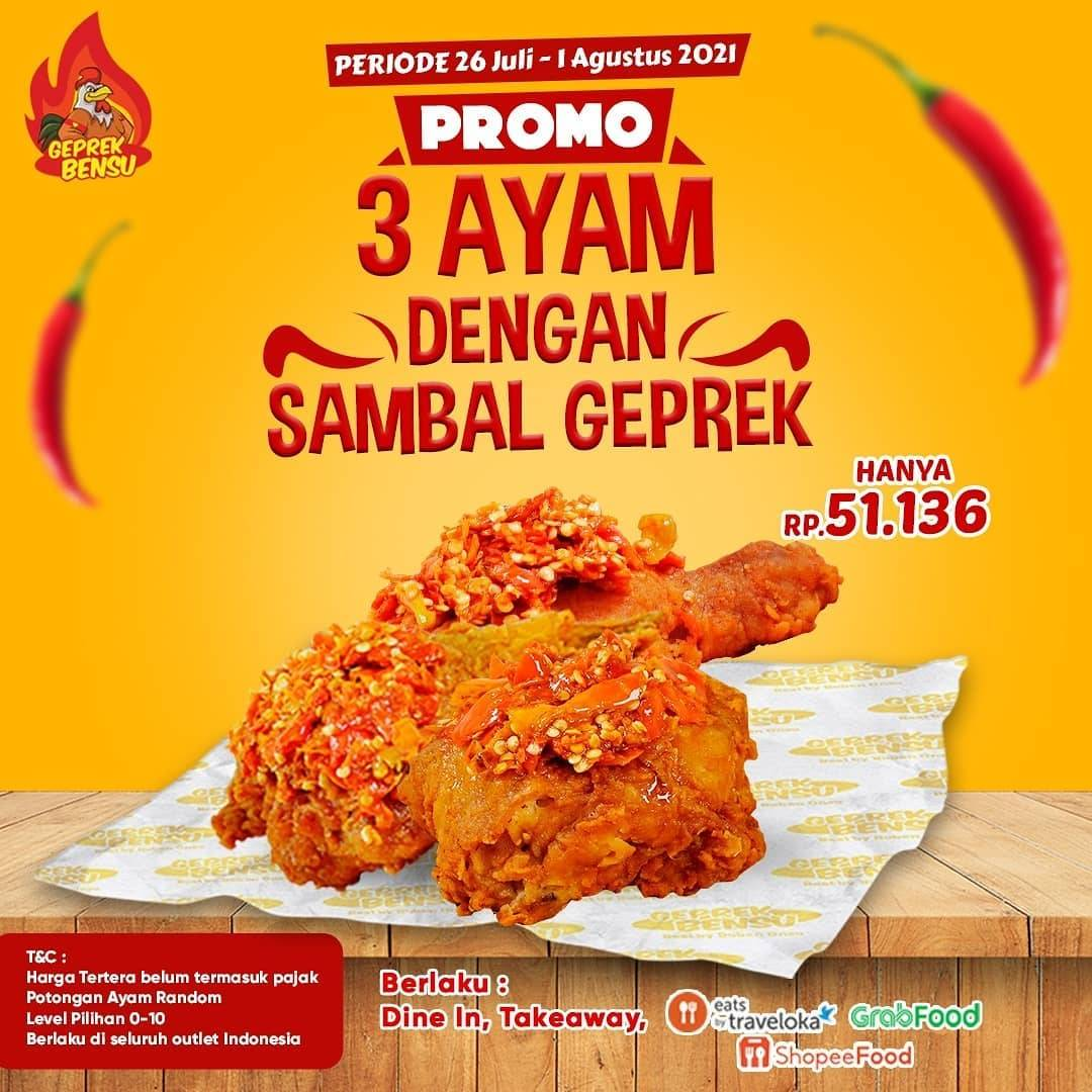 Diskon Geprek Bensu Promo 3 Ayam Dengan Sambal Geprek Mulai Dari Rp. 51Ribuan