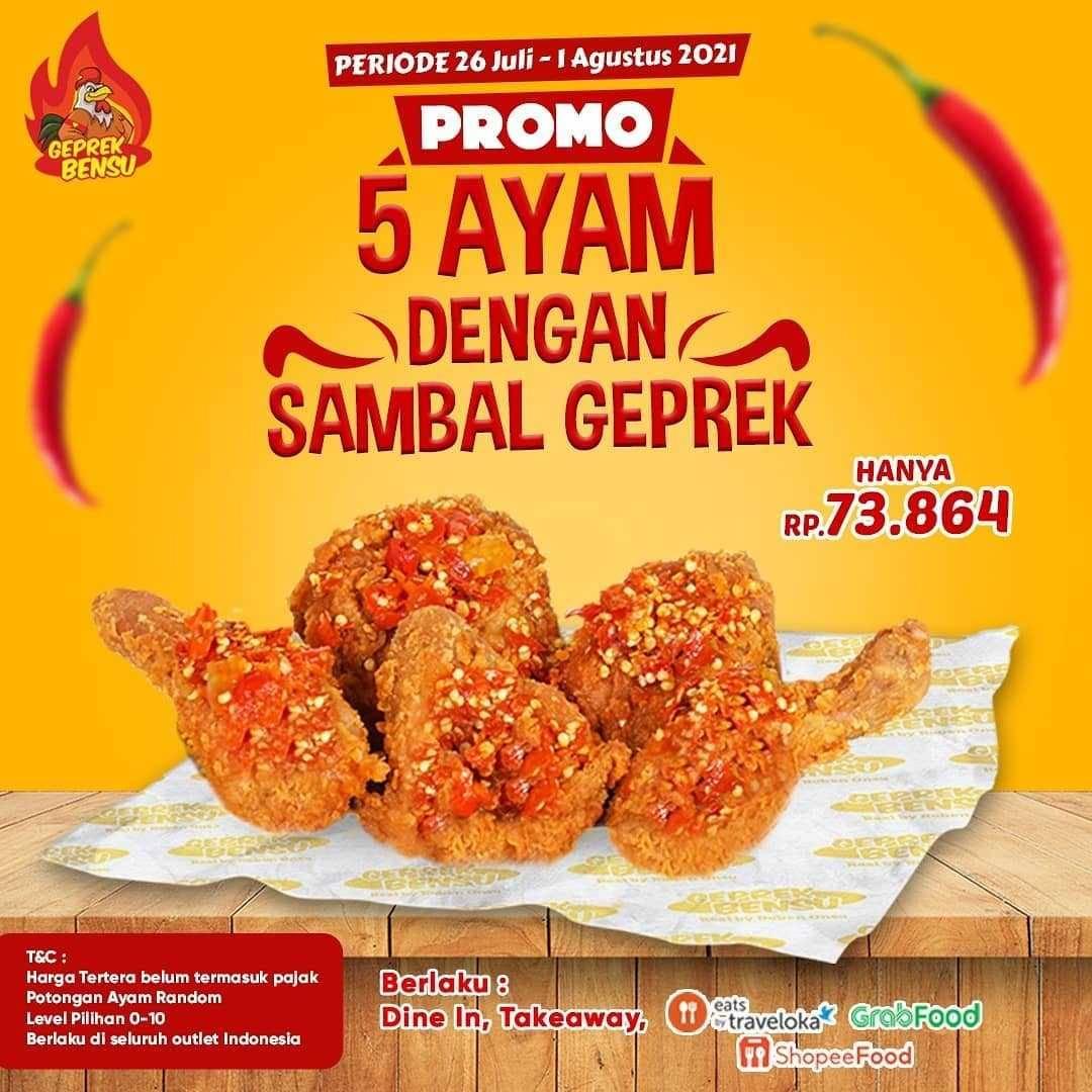 Promo diskon Geprek Bensu Promo 3 Ayam Dengan Sambal Geprek Mulai Dari Rp. 51Ribuan