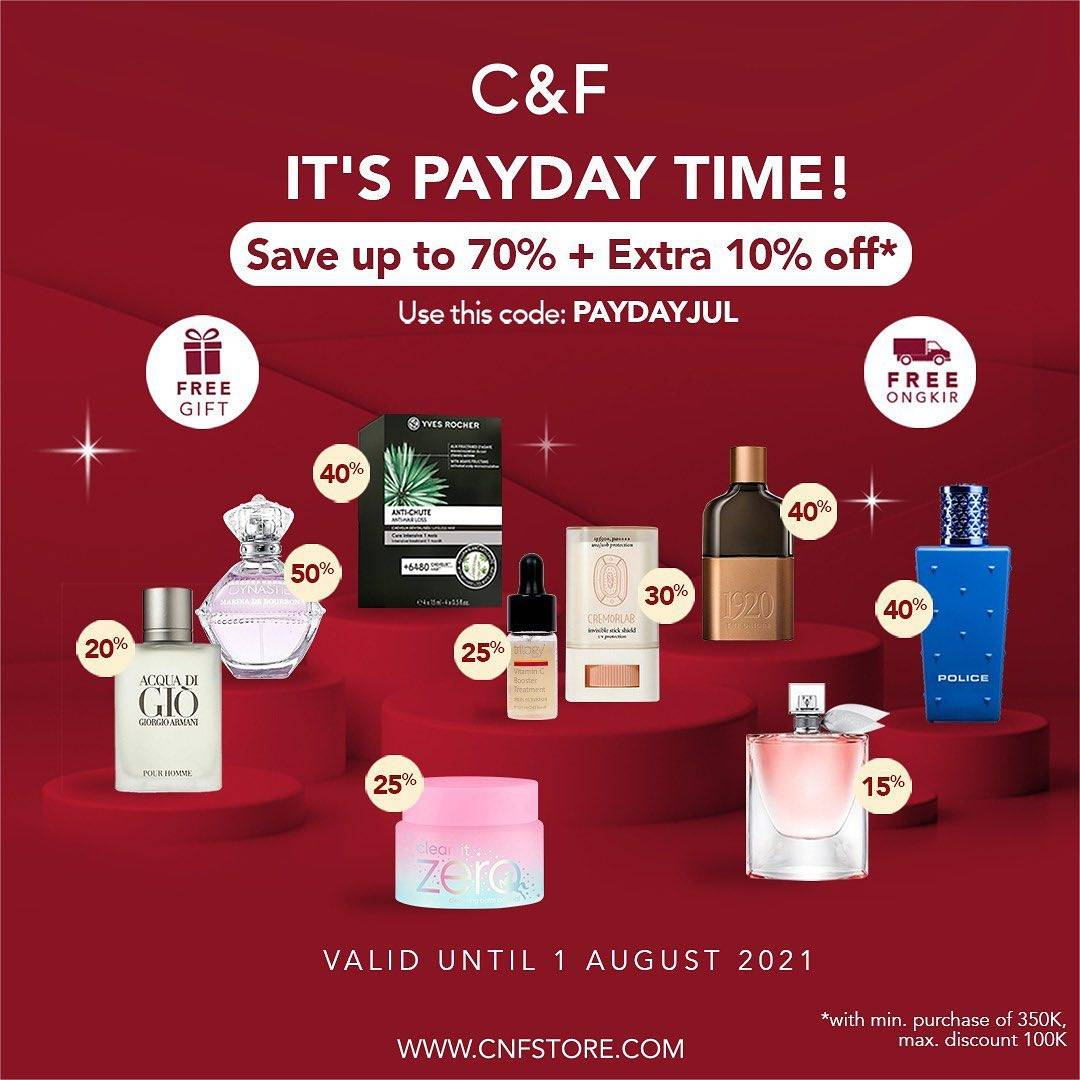 Diskon C&F Parfumery It's Payday Time Save Up To 70% + Extra 10% Off
