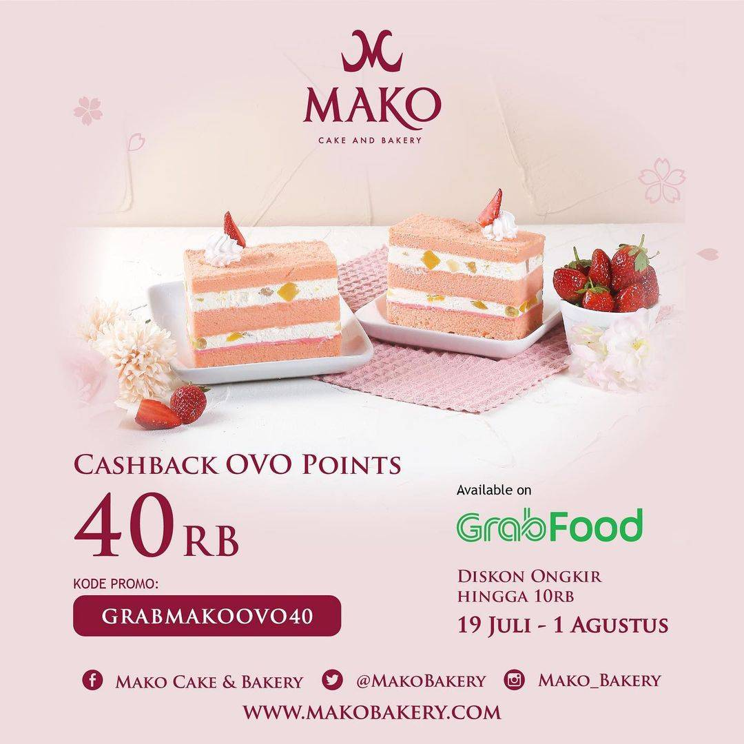 Diskon Mako Bakery Cashback OVO Points Rp. 40.000 Dengan GrabFood