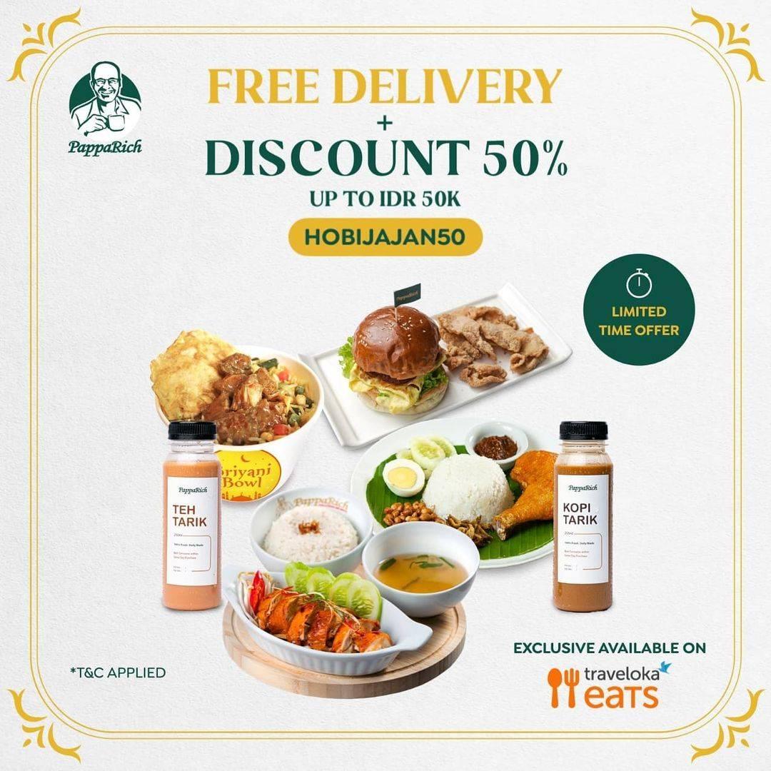 Diskon Papparich Free Delivery + Discount 50% Off Dengan Traveloka Eats