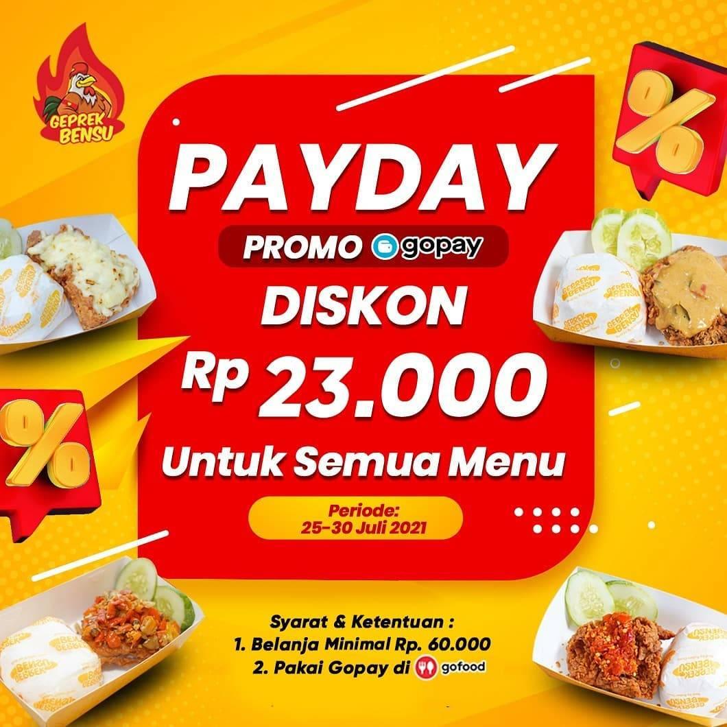 Diskon Geprek Bensu Promo Payday Diskon Rp. 23.000 Dengan Gopay