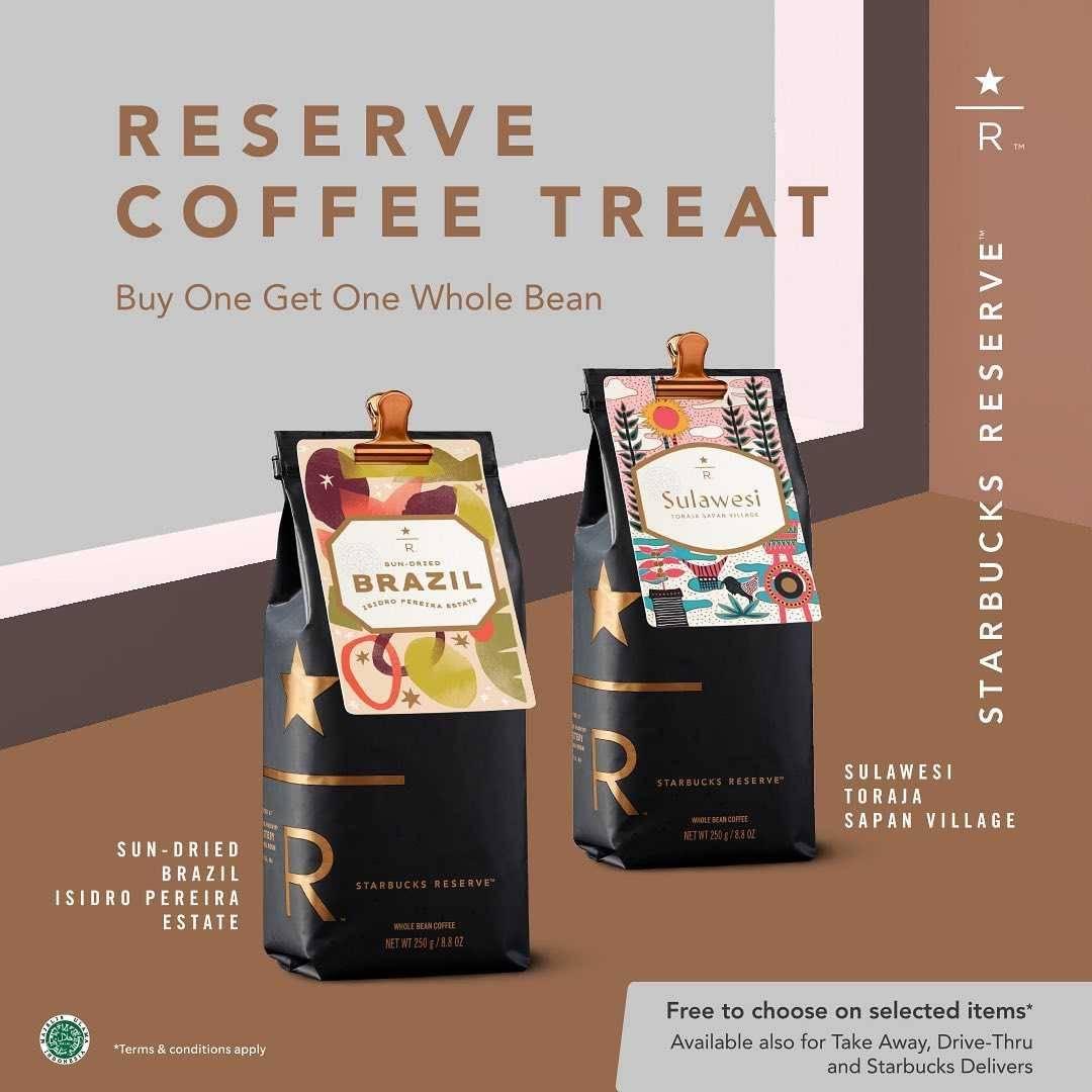 Promo diskon Starbucks Buy 1 Get 1 Free Whole Bean