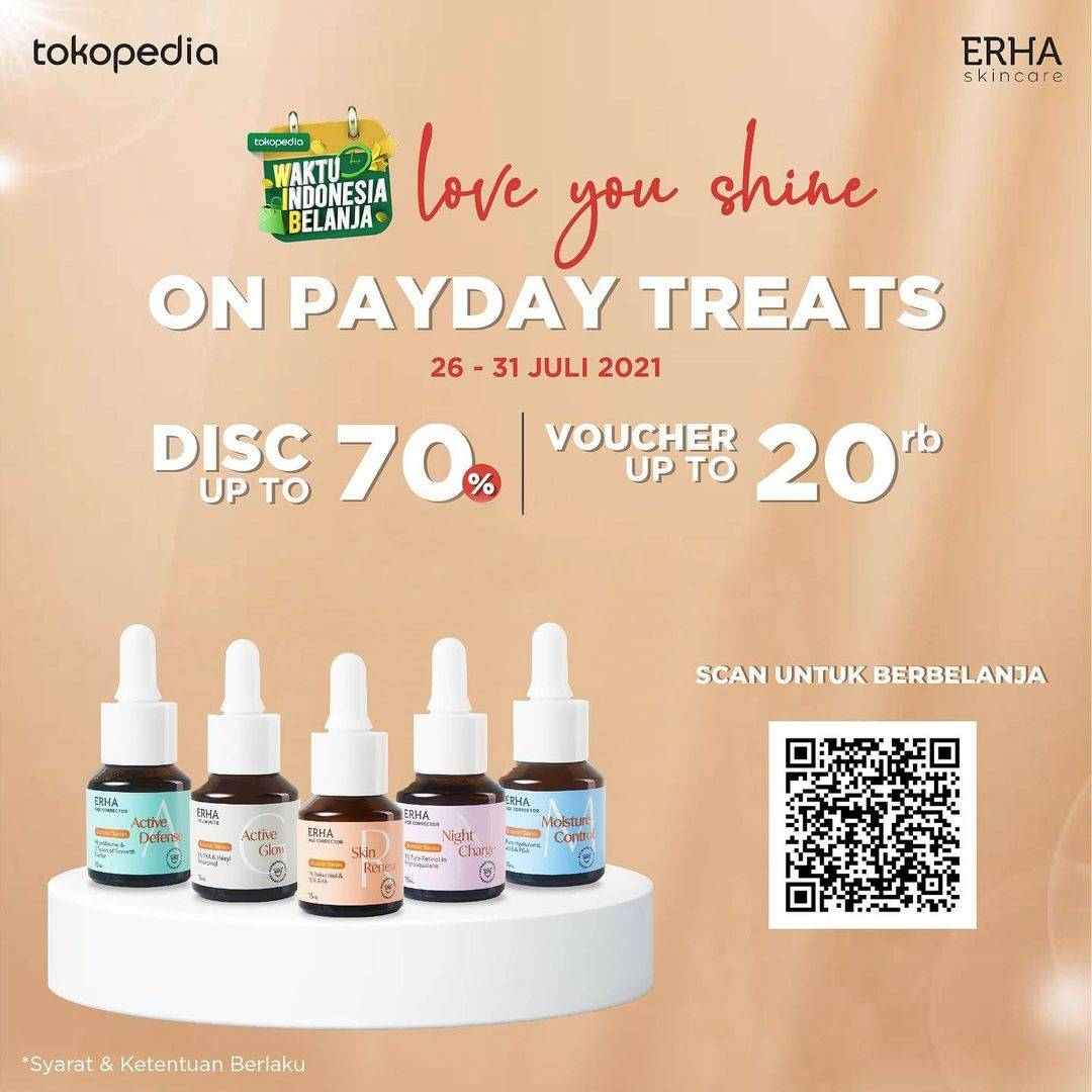 Diskon Erha On Payday Treats Discount Up To 70% Off + Voucher Up To Rp. 20.000 On Tokopedia