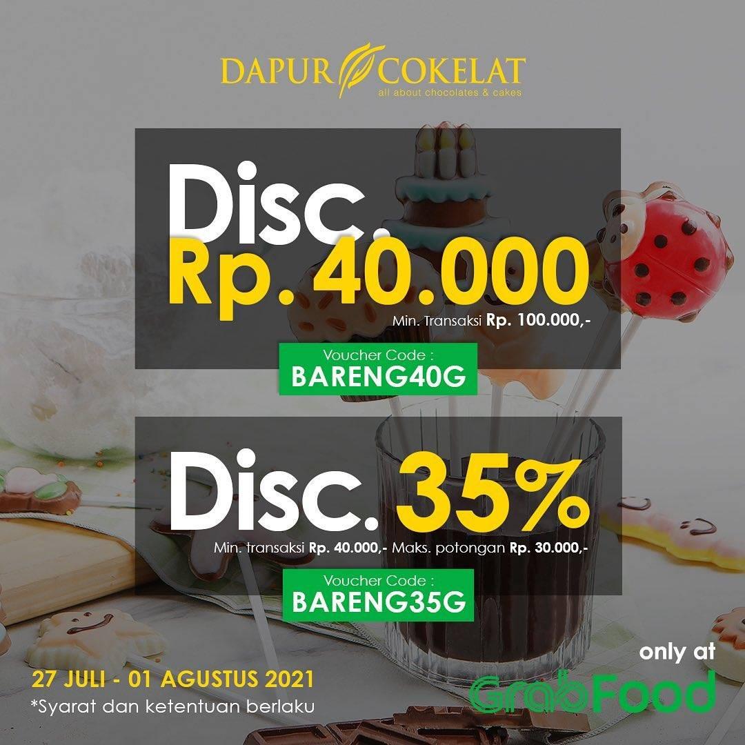 Diskon Dapur Cokelat Discount Hingga Rp. 40.000 Dengan GrabFood