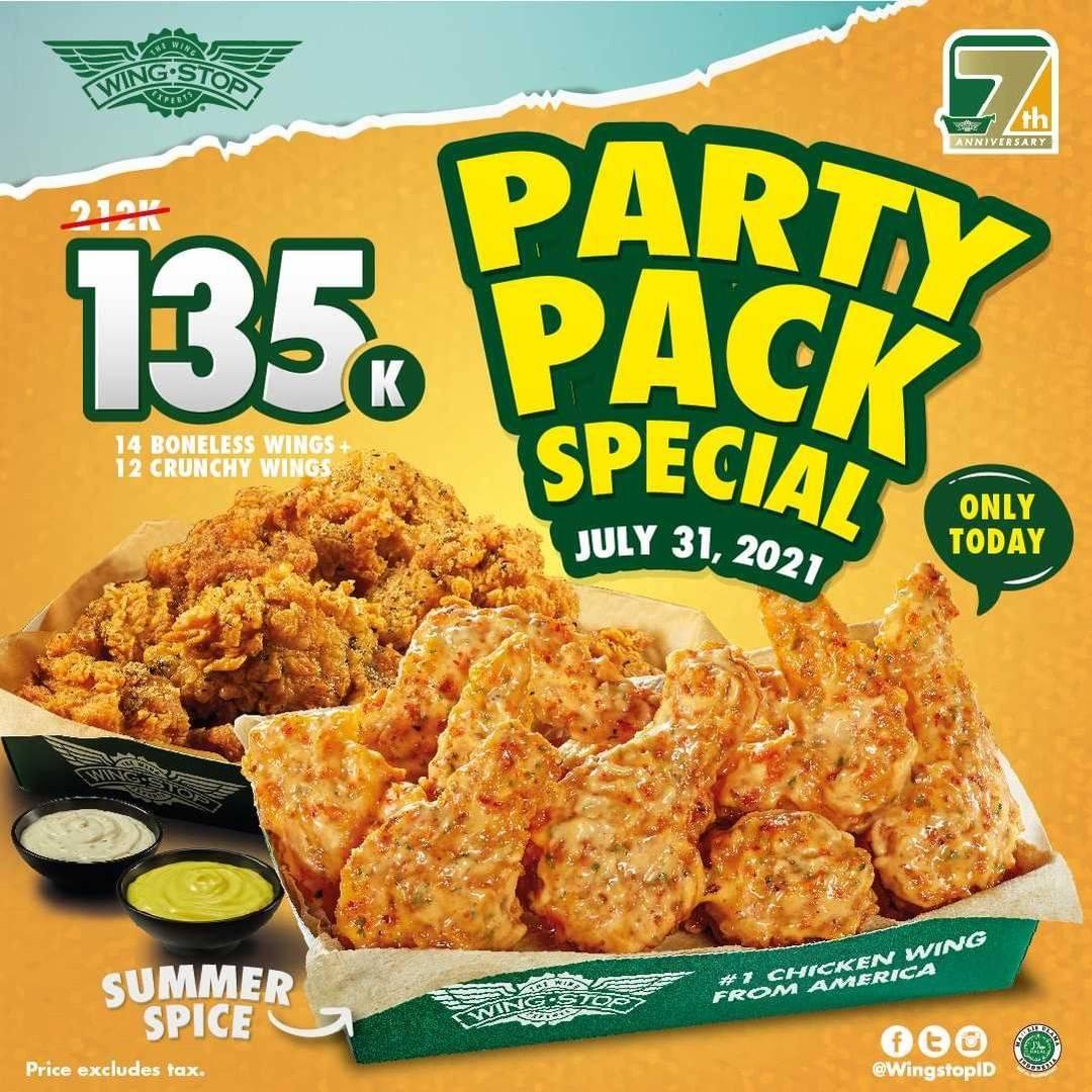 Diskon Wingstop Party Pack Special 14 Boneless Wings + 12 Crunchy Wings Hanya Rp. 135.000