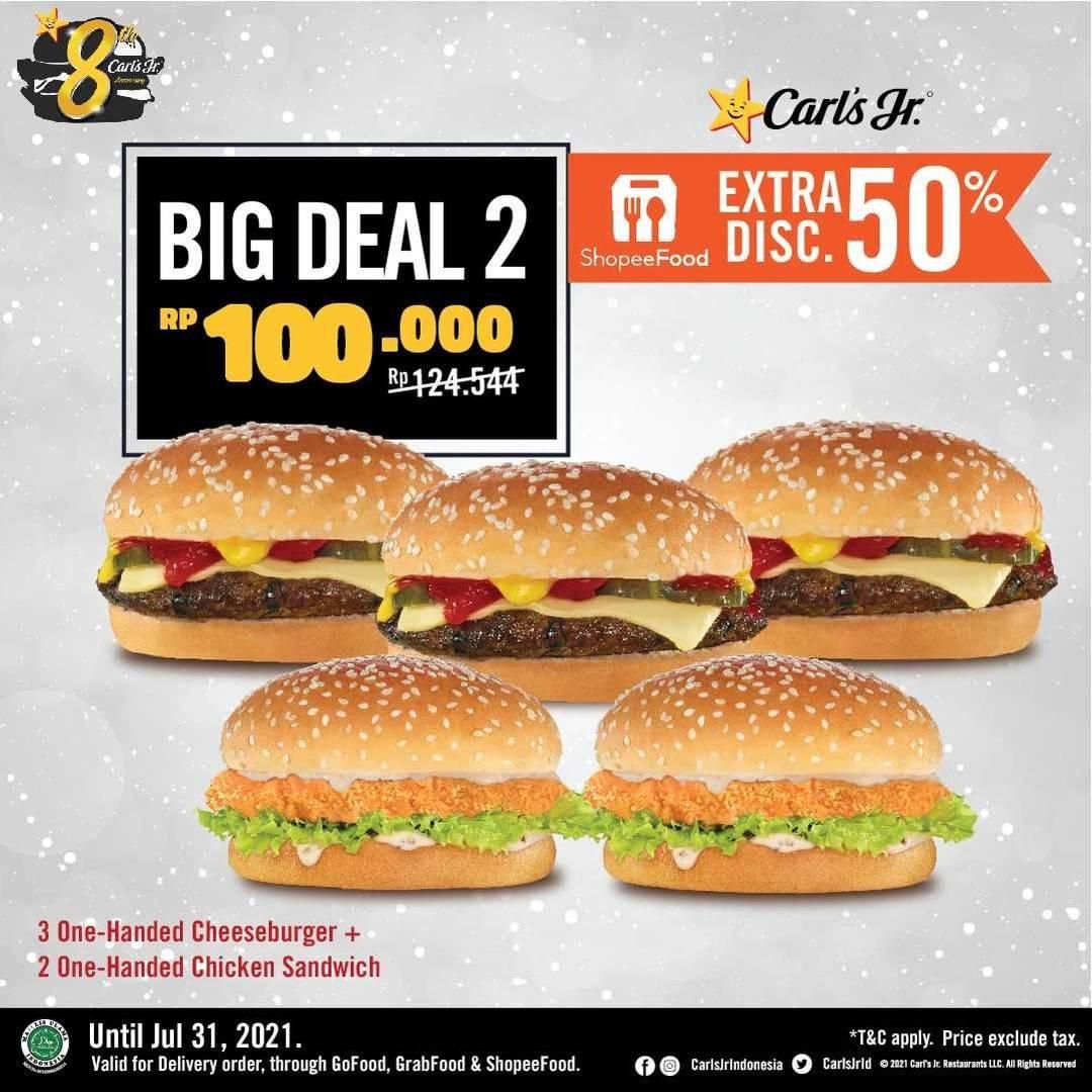Diskon Carls Jr Promo Big Deal 2 Hanya Rp. 100.000 + Extra Discount 50% With Shopeepay