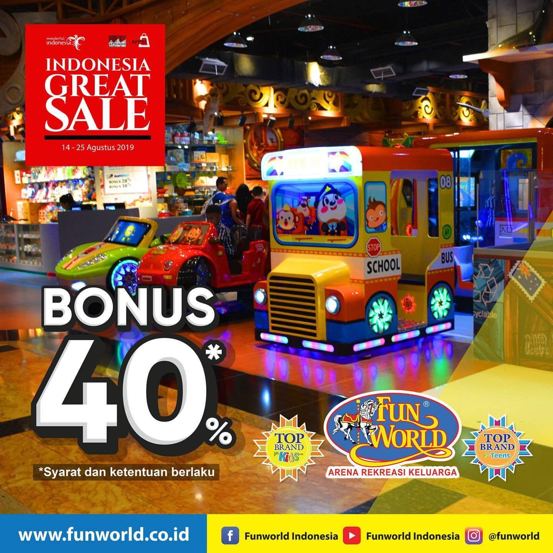 Funworld Indonesia Great Sale, Dapatkan Bonus Saldo 40%