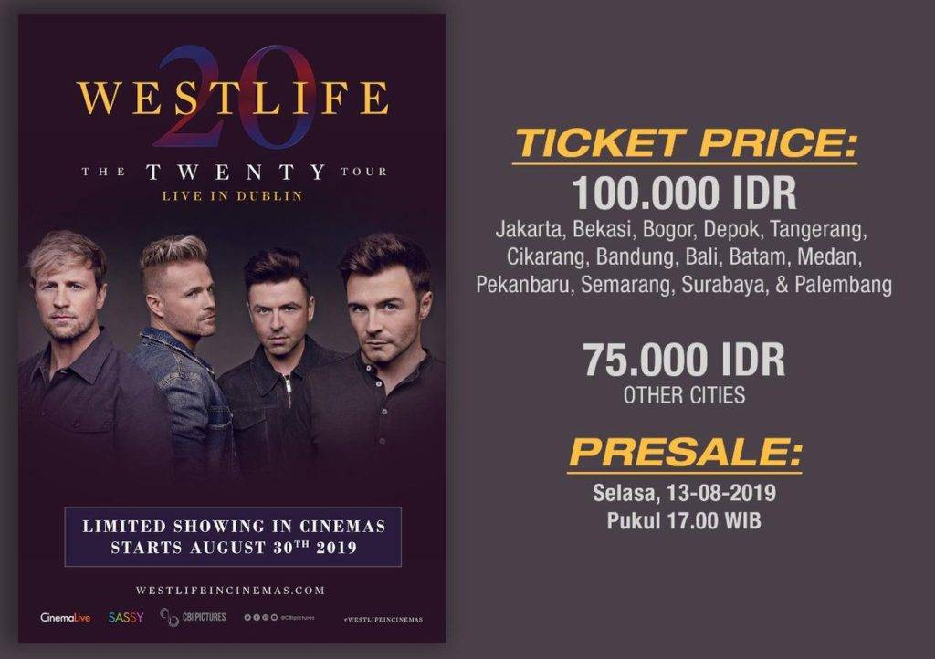Diskon CGV CINEMA Promo PRESALE TICKET Westlife : The Twenty Tour Live in Dublin