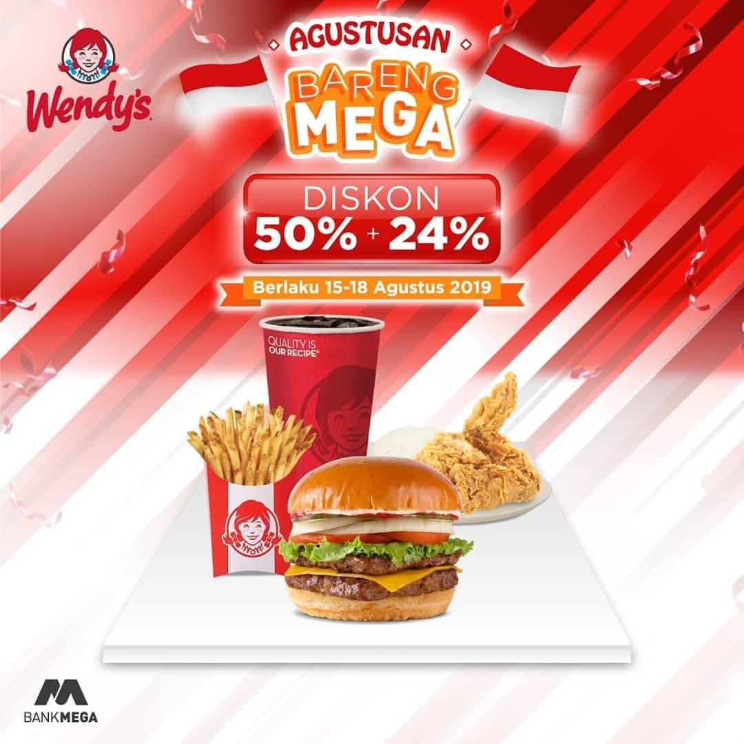Wendy's Spekta Promo MERDEKA DISKON 50% + 24% dengan Kartu Kredit Bank Mega