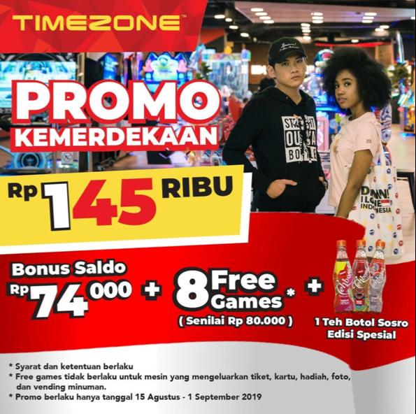 TIMEZONE Promo HUT RI ke 74, Bonus saldo Rp74.000 + 8 Free Games + 1 Teh Botol Sosro.??