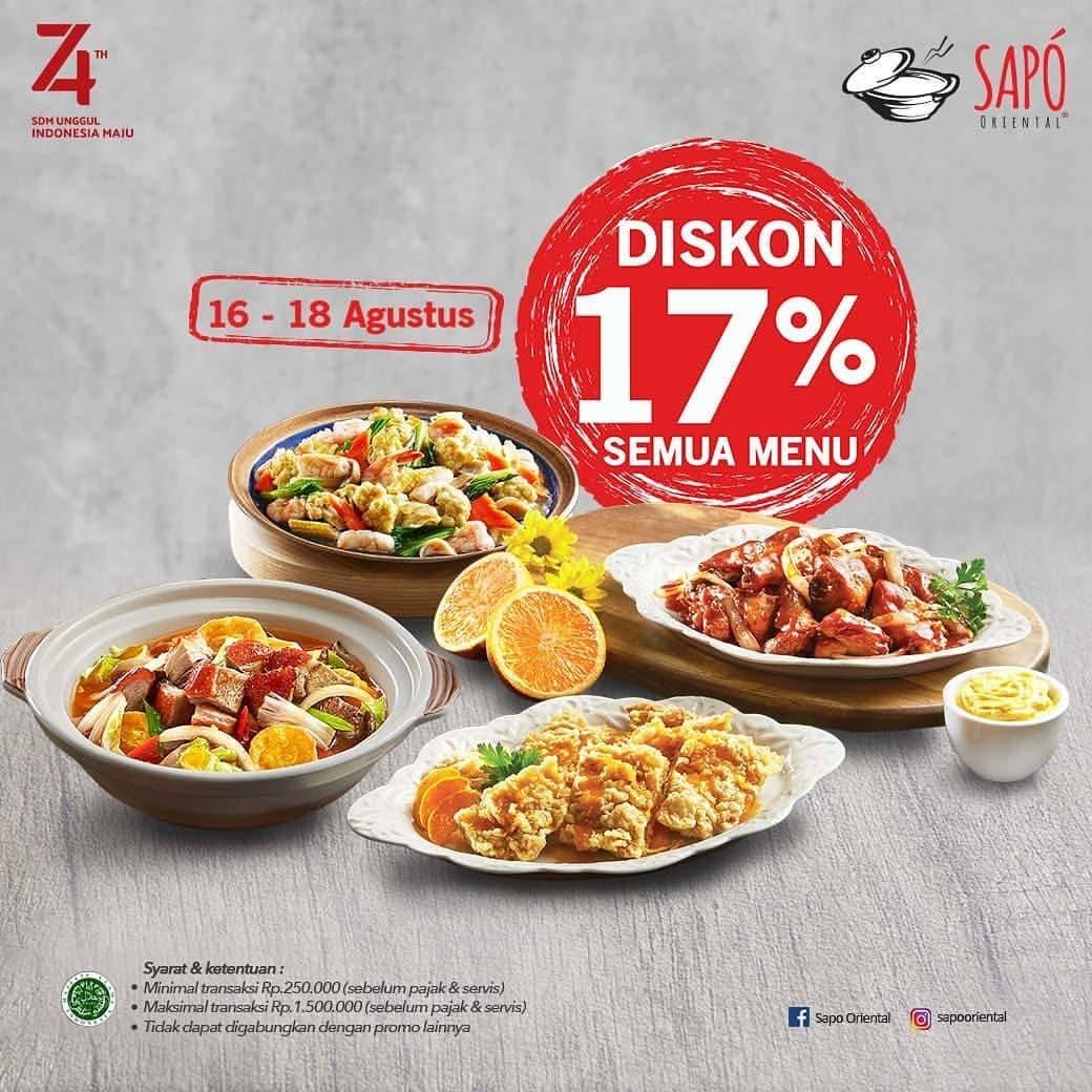 Diskon SAPO ORIENTAL Promo Diskon 17% Semua Menu