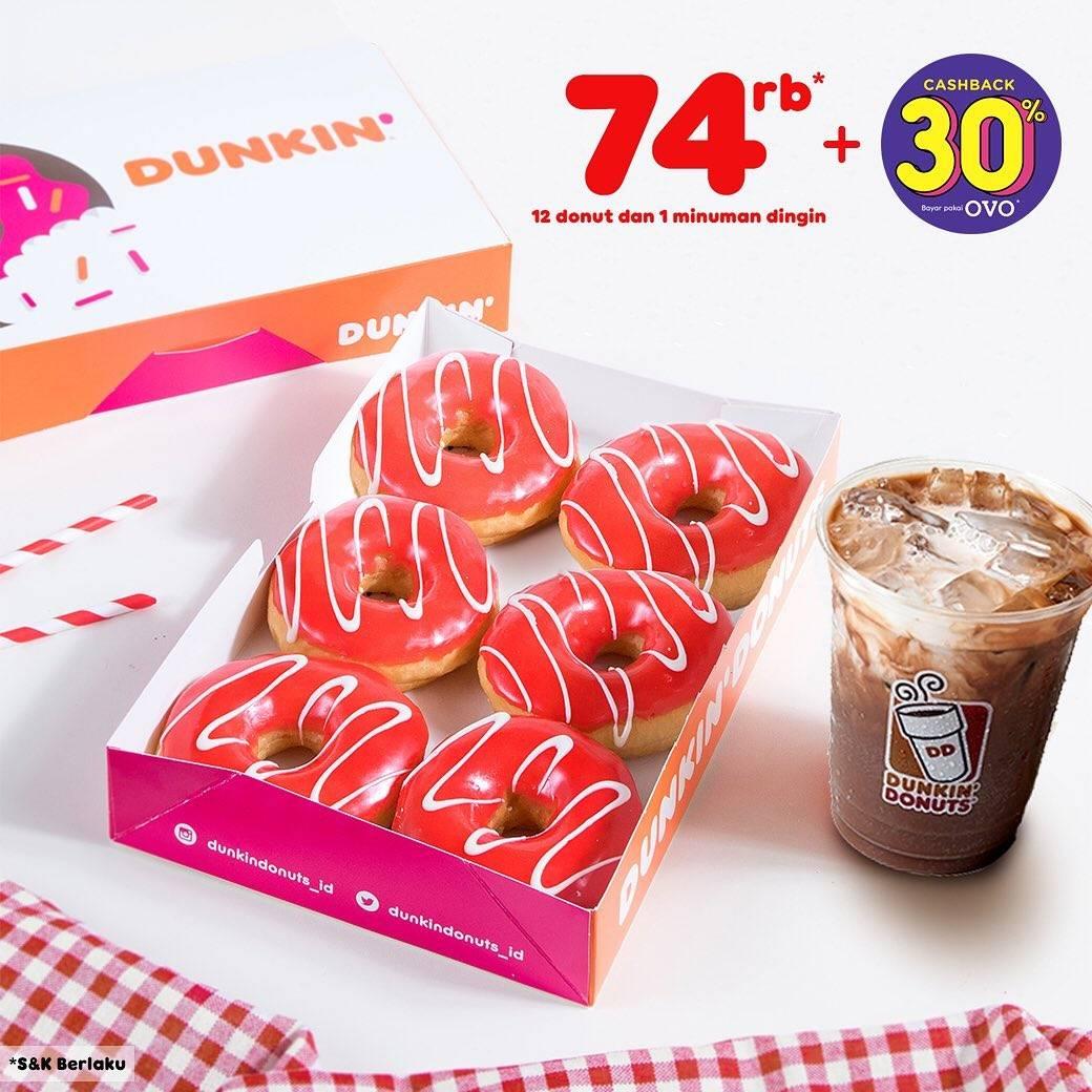 Diskon DUNKIN DONUTS Promo HUT RI ke 74, Paket 12 donut dan 1 minuman Rp. 74.000!