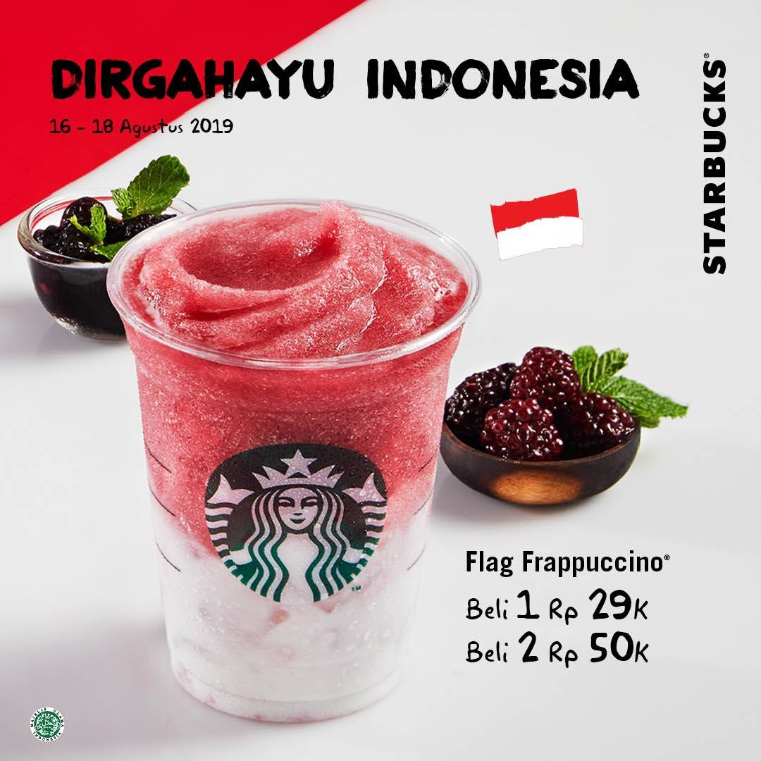 STARBUCKS Promo HUT RI ke 74, Flag Frappuccino Beli 2 Hanya Rp. 50.000!