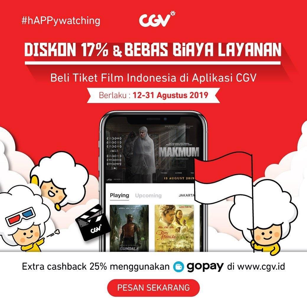 CGV Promo Bebas Biaya Layanan, Diskon 17% dan CASHBACK 25% dengan GOPAY