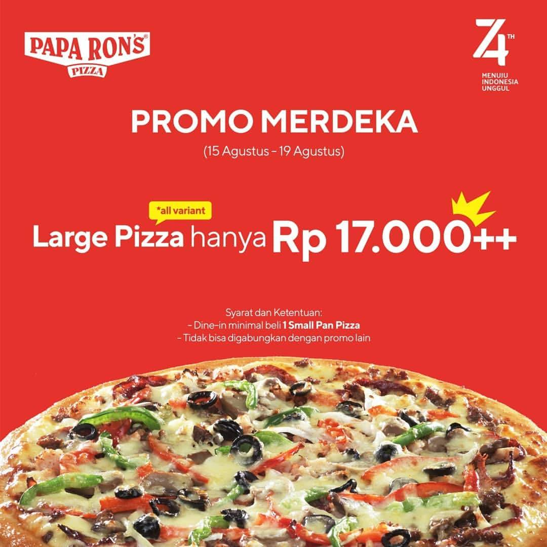 Papa Ron's Pizza Promo MERDEKA, Large Pizza All Variant hanya Rp.17.000++