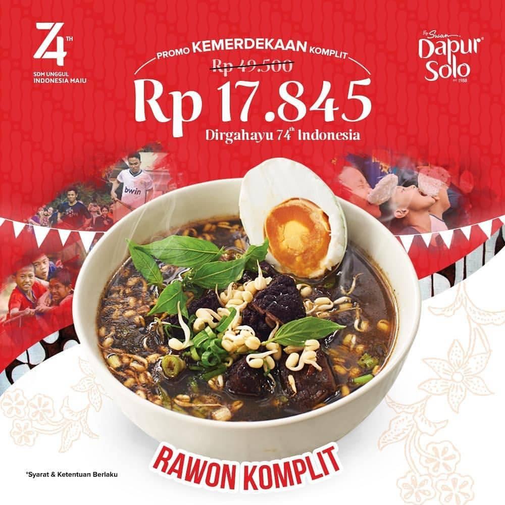DAPUR SOLO Promo Harga Spesial Menu Rawon Komplit cuma Rp.17.845