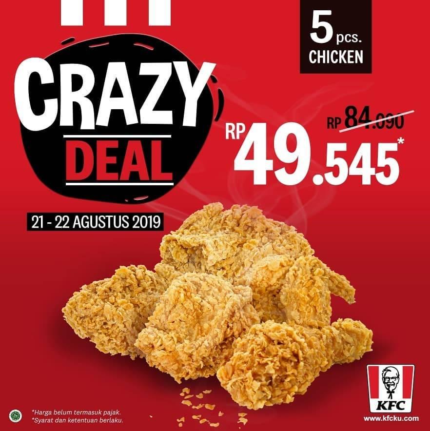 Diskon PROMO KFC CRAZY DEAL, Paket 5 pcs Ayam mulai Rp. 49.545