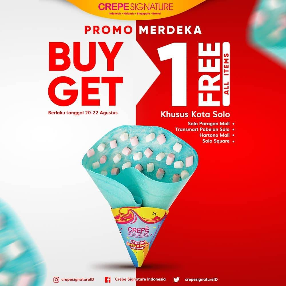 Diskon Crepe Signature Solo Promo Merdeka Buy 1 Get 1 Free All Items