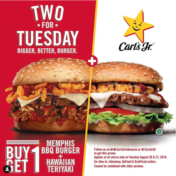CARLS JR Tuesday Promo, Beli Memphis BBQ Burger GRATIS Hawaiian Teriyaki