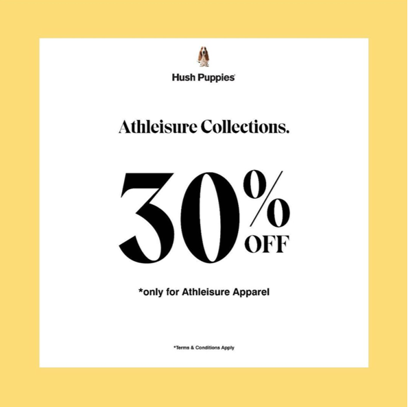 HUSH PUPPIES Discount 30% Off For Athleisure Apparel Collection