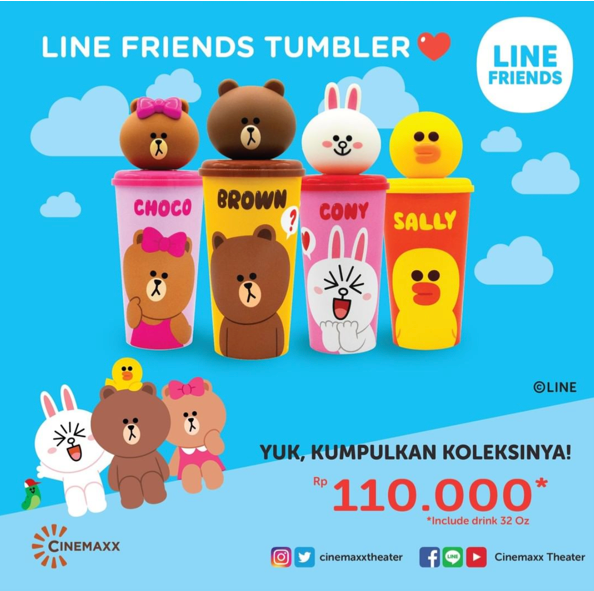Cinemaxx Promo Koleksi Tumbler LINE FRIENDS Choco, Brown, Cony, dan Sally