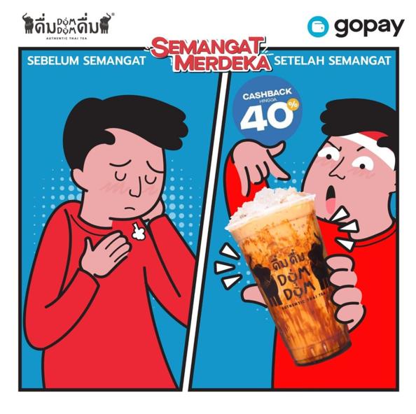 Diskon DUM DUM Thai Tea Promo Cashback Hingga 40% dengan GOPAY