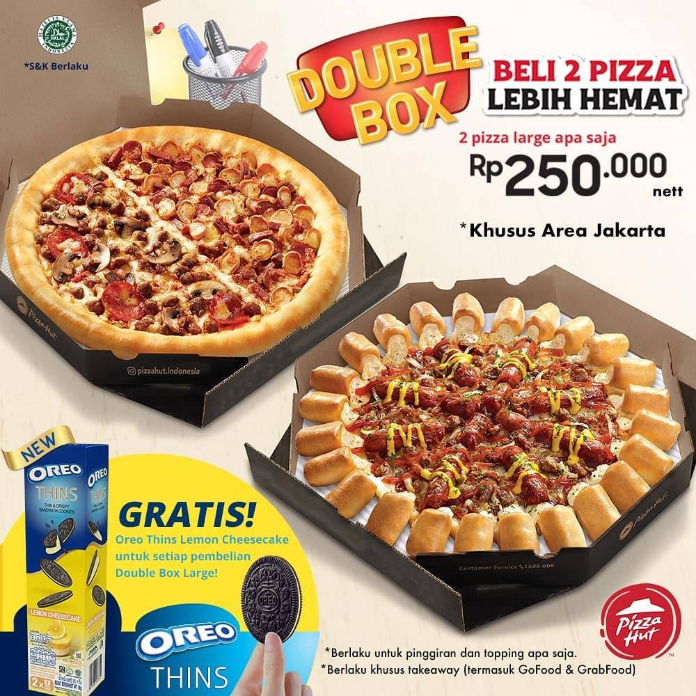 PIZZA HUT Promo Beli Paket Double Box Large Gratis Oreo Thin Lemon Cheesecake