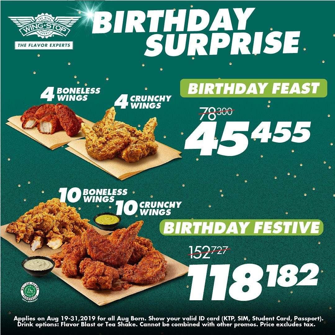 WINGSTOP BIRTHDAY SURPRISE, Paket Spesial Ulang Tahun mulai Rp. 45.455*