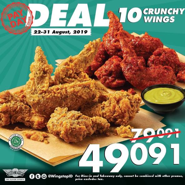 WINGSTOP PayDay Deal, Paket 10 Crunchy Wings Hanya Rp. 49.091