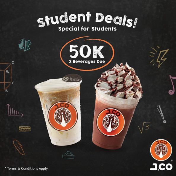 Diskon JCO Promo Student Deals only 50 K for 2 Beverages Due