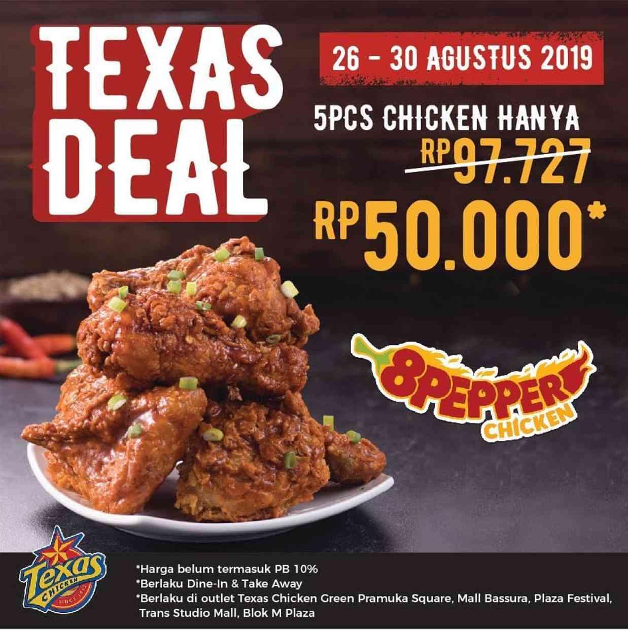 Diskon TEXAS CHICKEN Promo Paket 5 potong 8Pepper Chicken cuma Rp 50.000