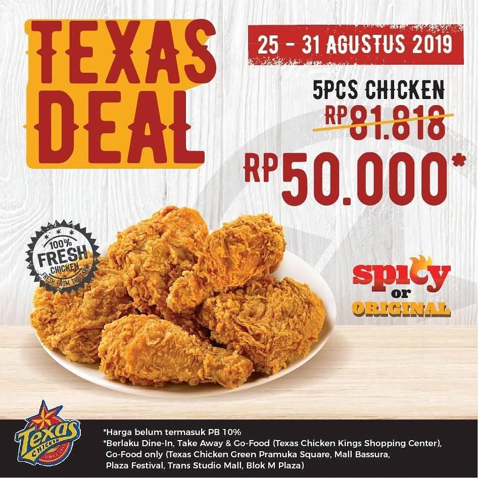Texas Chicken Promo Texas Deal Beli 5 ayam  Rp 50.000