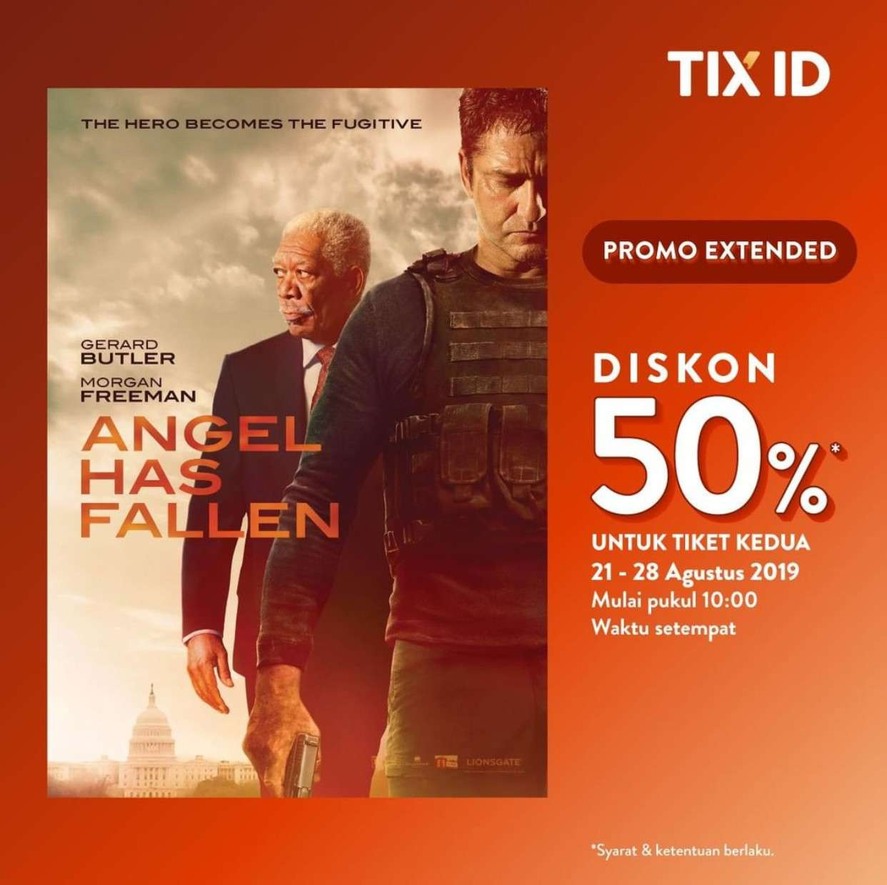 TIX ID Promo Diskon 50% Film Angel Has Fallen