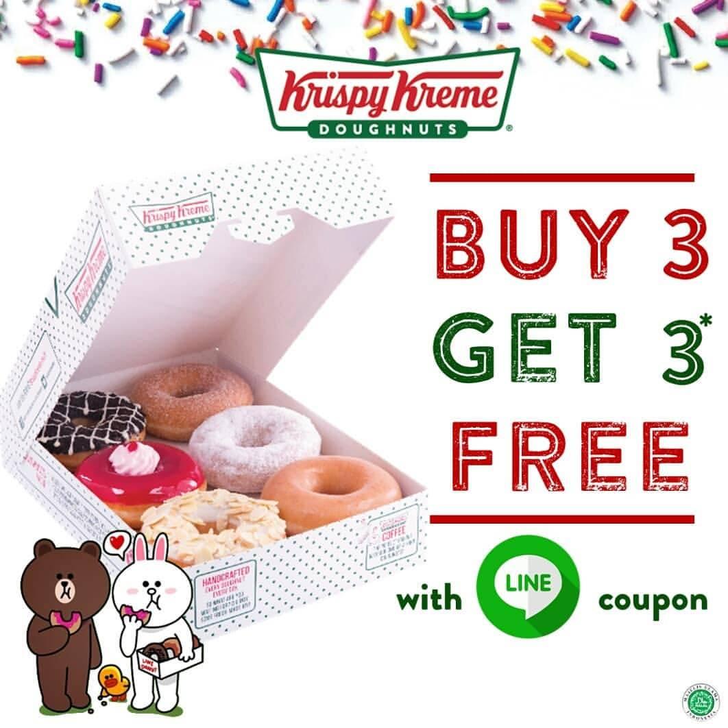 Krispy Kreme Promo Buy 3 Get 3 Free dengan Kupon LINE