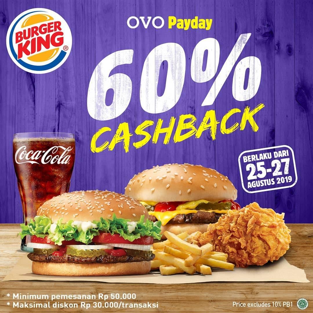 Diskon BURGER KING Promo OVO PAYDAY CASHBACK 60% dengan OVO