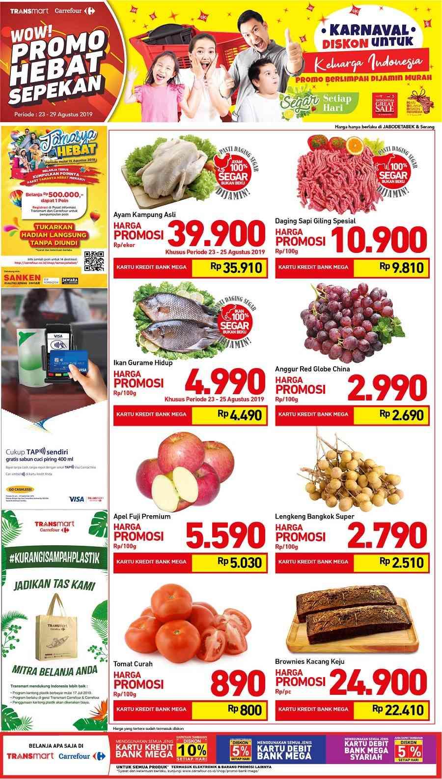 Transmart Carrefour Promo Produk Fresh Akhir Pekan periode 23-29 Agustus 2019