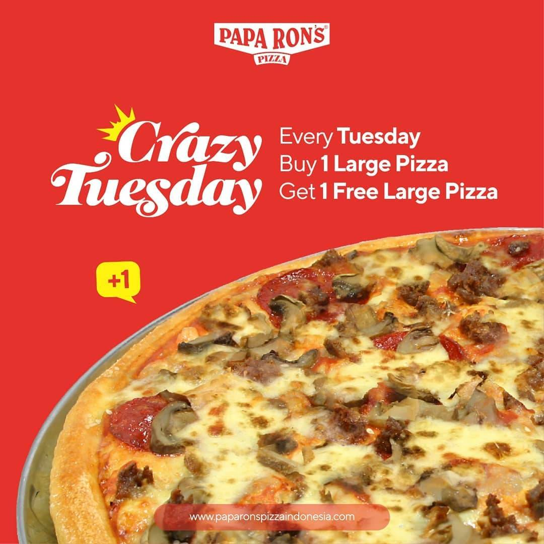 Papa Rons Pizza Promo Crazy Tuesday Buy 1 Large Pizza Get 1 Free Large Pizza